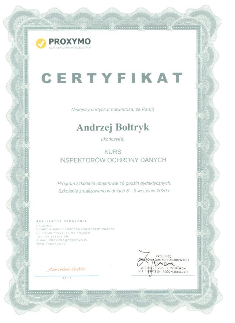 Certyfikat Inspektor Ochrony Danych Osobowych Andrzej Bołtryk