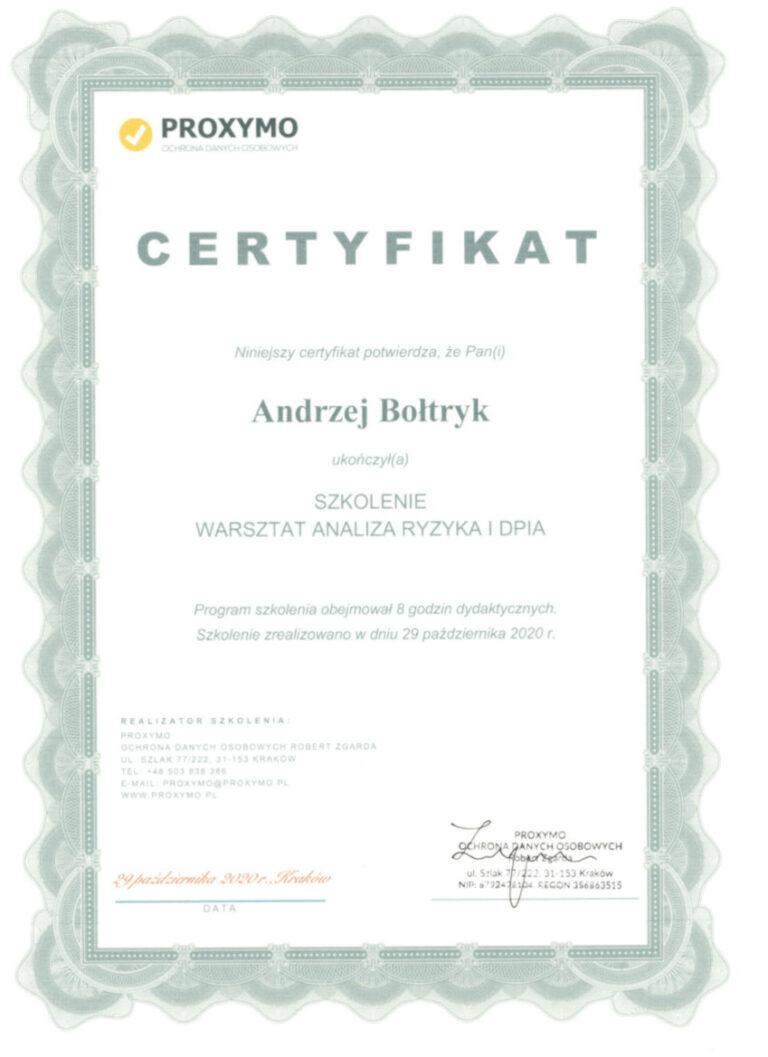 Certyfikat Szkolenie Warsztat Analiza Ryzyka i DPIA