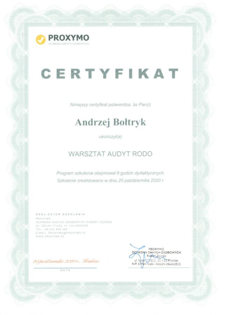 Certyfikat Warsztat Audyt RODO Andrzej Bołtryk