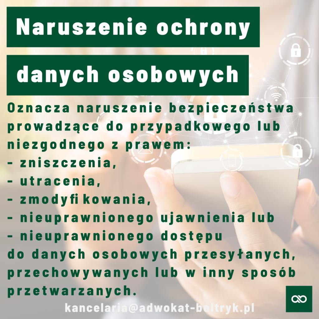 naruszenie ochrony danych osobowych adwokat Białystok